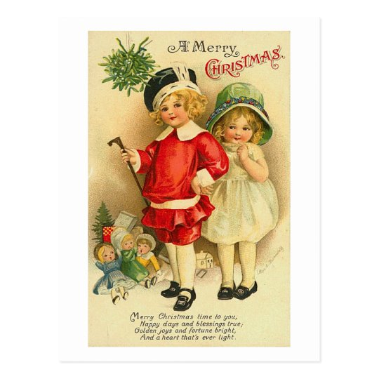 A Merry Christmas Children Card Postcard