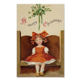 A Merry Christmas Cute Girl Card Print