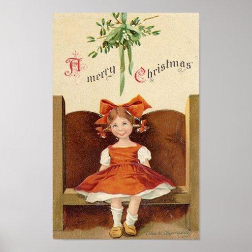 A Merry Christmas Cute Girl Card Print