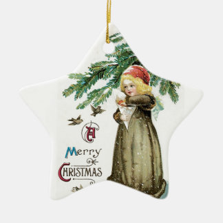 """A Merry Christmas"" Girl Ceramic Star Decoration"