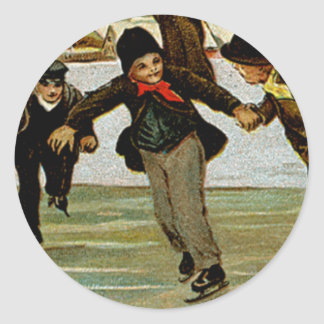 A Merry Christmas Ice Skaters Round Sticker