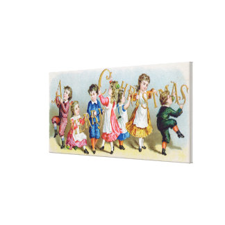 A Merry Christmas', Victorian postcard Canvas Print