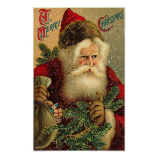 A Merry Christmas Vintage Santa Poster