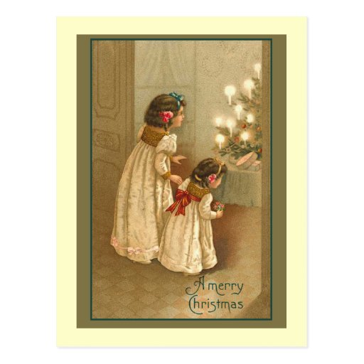 A Merry Christmas With Two Victorian Girls Postcard