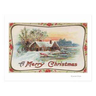 A Merry ChristmasA Country Scene Postcard