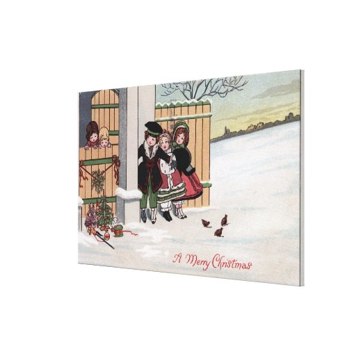 A Merry ChristmasKids by Fence Canvas Print