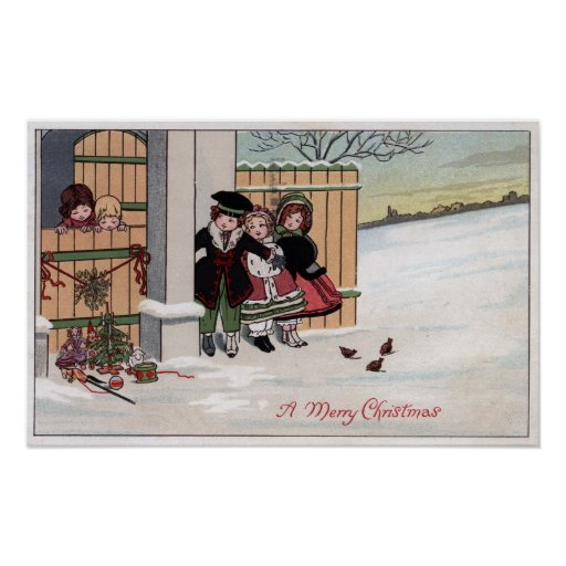 A Merry ChristmasKids by Fence Print