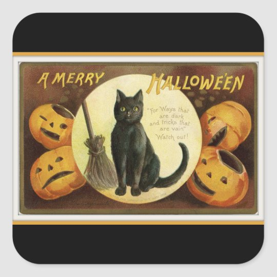 A Merry Halloween Black Cat and Pumpkins Black Square Sticker