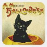 A Merry Halloween Kitten Square Sticker