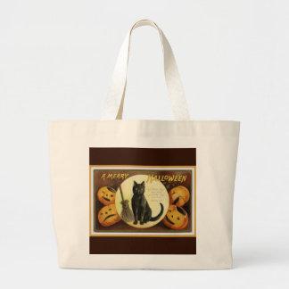 A Merry Halloween Vintage Black Cat and Pumpkins Large Tote Bag