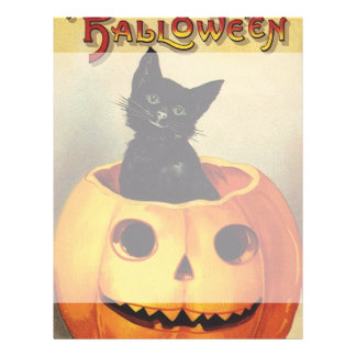 A Merry Halloween, Vintage Black Cat in Pumpkin Flyer