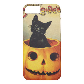 A Merry Halloween, Vintage Black Cat in Pumpkin iPhone 8/7 Case