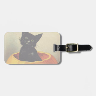 A Merry Halloween, Vintage Black Cat in Pumpkin Luggage Tag
