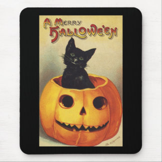 A Merry Halloween, Vintage Black Cat in Pumpkin Mouse Pad