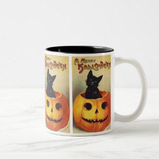 A Merry Halloween, Vintage Black Cat in Pumpkin Two-Tone Coffee Mug