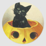 A Merry Haloween Kitten Classic Round Sticker
