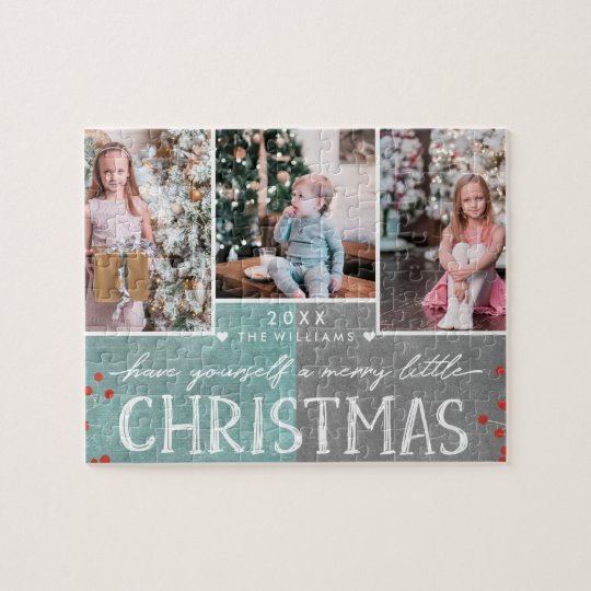 A Merry Little Christmas Family Photo Collage Jigsaw
