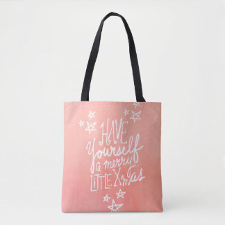 A Merry Little Xmas Hand Lettered Holiday Tote Bag