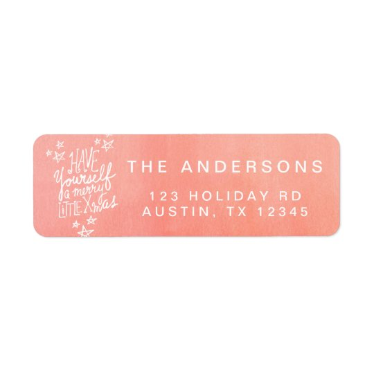 A Merry Little Xmas Hand Lettered Script Holiday Return Address Label