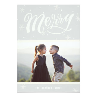 A Merry Wish Calligraphy Christmas Card - Gray