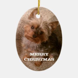 A Merry Yorkie Christmas Christmas Ornament