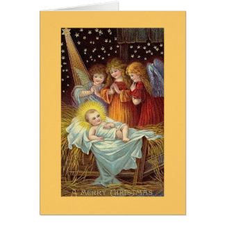 A Mery Christmas Angels with Baby Jesus Greeting Card