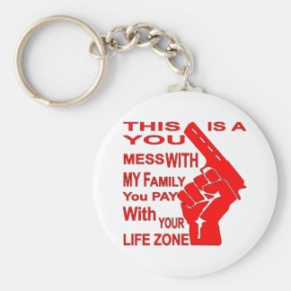 A Mess With My Family You Pay With Your Life Zone Basic Round Button Key Ring