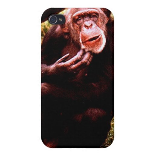 A messed up looking chimp. iPhone 4 cover