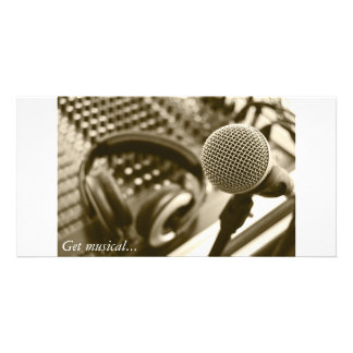 A microphone and headphones photo card template