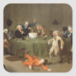 A Midnight Modern Conversation, c.1732 (oil on can Square Sticker