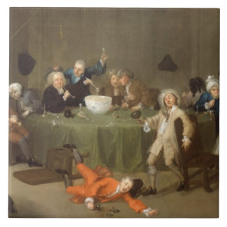 A Midnight Modern Conversation, c.1732 (oil on can Tile