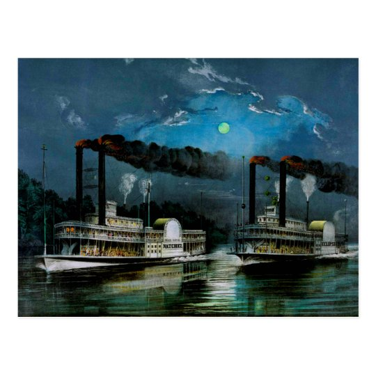 A Midnight Race on the Mississippi Postcard