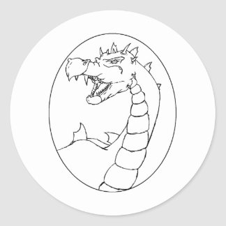 A Mighty Dragon (lined design) Round Stickers