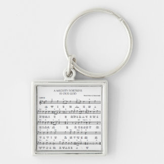 A Mighty Fortress Silver-Colored Square Key Ring