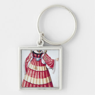 A Milanese Lady Silver-Colored Square Key Ring