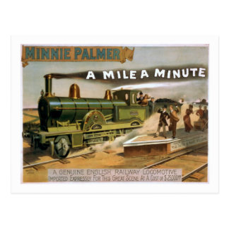 """""""A Mile a Minute"""" Vintage Theatre Train Postcard"""