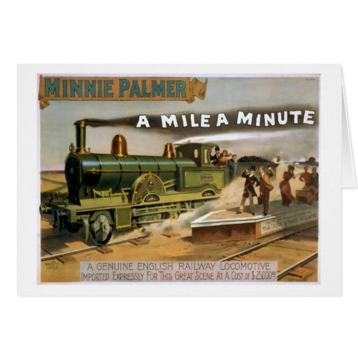 """""""A Mile a Minute"""" Vintage Theatre Train Poster Cards"""