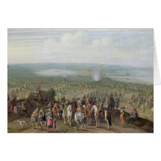 A Military Encampment with Militia on Horses, Troo Card