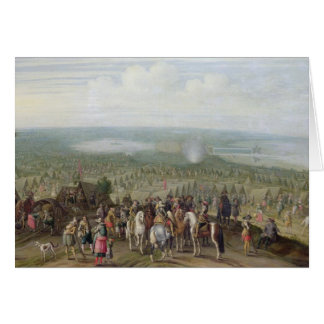 A Military Encampment with Militia on Horses, Troo Greeting Card