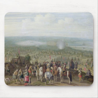 A Military Encampment with Militia on Horses, Troo Mouse Mat