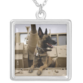 A military working dog sits on a M2A3 Silver Plated Necklace