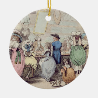 A Milliner's Shop, published in 1787 (hand coloure Christmas Ornament