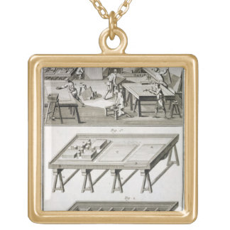 A mirror maker's workshop and tools, from the 'Enc Gold Plated Necklace
