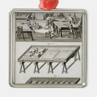 A mirror maker's workshop and tools, from the 'Enc Silver-Colored Square Decoration