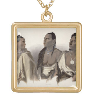 A Missouri Indian, an Oto Indian and the Chief of Gold Plated Necklace