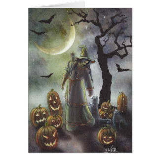 A misty walk at Halloween. Greeting Card