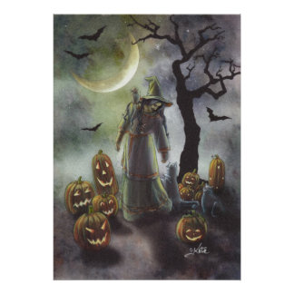 A misty walk at Halloween. Poster