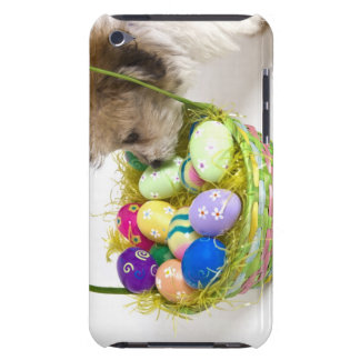 A mixed breed puppy sniffing at an Easter basket Barely There iPod Covers