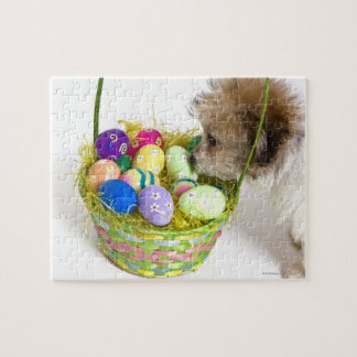 A mixed breed puppy sniffing at an Easter basket Jigsaw Puzzle