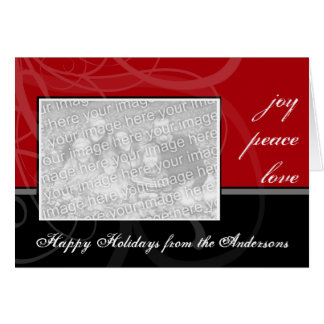 A Modern Black & Red Photo Greeting Card